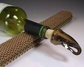 Wine bottle stopper, pottery wine cork, ceramic wine bottle cork, pottery wine stopper with stoneware topper in brown glaze