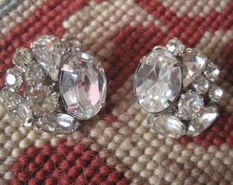 Vintage WEISS Rhinestone Earrings Bride Bridal Wedding