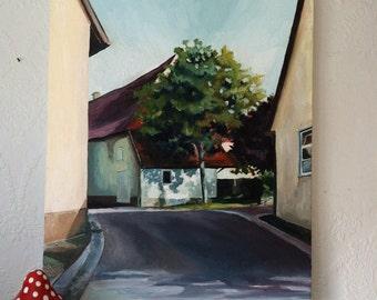 Original Oil Painting of Germany, Village Street, European Street View.