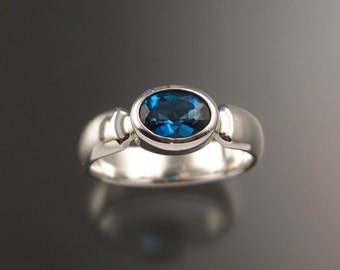 London Blue Topaz ring Sterling Silver with bezel set stone made to order in your size