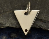 Sterling Silver Triangle Charm Dangle with Two Holes.  - C2950, Blank Charms, Stamping, Engraving