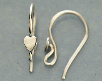 Sterling Silver Earring Findings - hook, Ear Wires, Heart, Love, Earrings, CT2169
