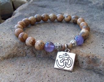 Ohm Om yoga bracelet - Picture Jasper and Amethyst gemstone beaded stretch bracelet, meditation bracelet