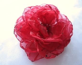Ruby Red Singed Organza Flower Hair Clip