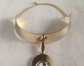 Sexy Gold Vintage Festival Choker Necklace / 80s Choker Style Accessory / One Of A Kind Jewelry