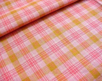 """Vintage 40s Cotton Plaid Fabric -Woven Pink White Citron -Spring Summer Clothing Quilting Home Decor Material 35"""" wide BTY"""