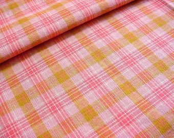 "Vintage 40s Cotton Plaid Fabric -Woven Pink White Citron Pastel Plaid -Clothing Quilting Home Decor Material 35"" wide BTY"