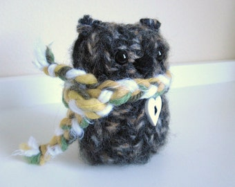 Wool Knitted Bear, Plush Winter Bear, Woodland Love Animal