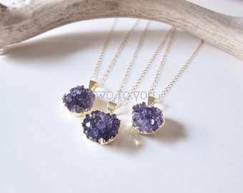 Maleficent - Gold Plated Amethyst Cluster - 14kt Gold Filled Necklace - Insurance included in ALL domestic shipping!