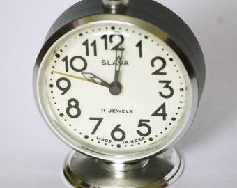 Vintage Soviet Alarm Clock - Slava - Working Desk Table Clock - Black and White - 11 Jewels - Made in USSR - 1980s