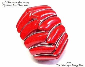 50s Western Germany Lipstick Red Coil Wrap Bracelet in Lucite Plastic Beads in Silver Design - Vintage 50's Marked Costume Jewelry