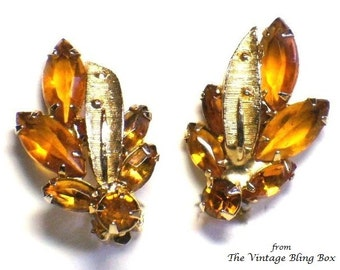 50s Golden Topaz Gold Leaf Earrings in Prong Set Faceted Navette & Chaton Crystal Floral Motif - Vintage 50's Rhinestone Costume Jewelry