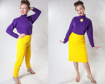 Vintage 1960s Yellow Corduroy Pants - White Stag High Waist  XS- Fall Fashions