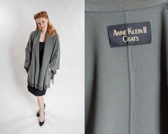 RESERVED Vintage Anne Klein II Cape Coat- Sage Green Poncho - 1980s Fashions