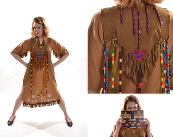 Vintage 1960s Camp Fire Girls Dress - Ceremonial Gown - Book Beads Pins Fringe