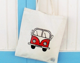 Campervan Bag Red, Tote Bag, Seaside Tote, Combi Tote, Cotton Tote, Shopping Bag, Eco Tote Bag, Reusable Grocery Bag
