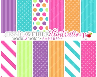 Birthday Candle Cupcakes Cute Digital Papers Backgrounds for Invitations, Card Design, Scrapbooking, and Web Design
