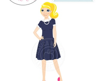 Blonde Woman in Navy Polka Dot House Dress, Stylish Woman Character Illustration, Cartoon Woman, Blog Woman Illustration, Female Character