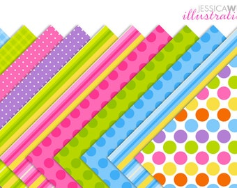 Bright Color Gingham Dots Stripes Digital Papers, Digital Download, Digital Backgrounds, Digital Print, Made 2 Match Easter Friends Papers
