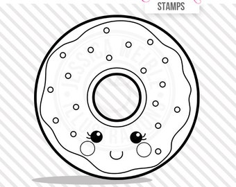 Kawaii Donut Cute Digital Stamp, Donut Blackline, Sprinkled Donut Black and White Outline, Donut Line Art, Instant Download
