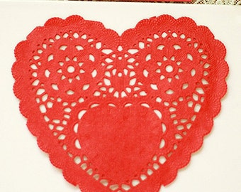 30 Romantic Heart Paper Doilies - Red (5 x 4.7in)