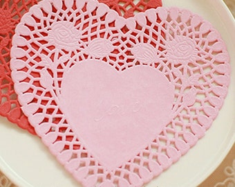 30 Rose Heart Paper Doilies - Pink (6 x 5.9in)
