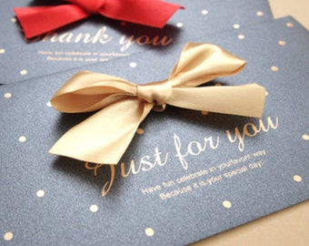 Congratulation Money Envelope - Charcoal & Gold Ribbon (6.7 x 3.5in)