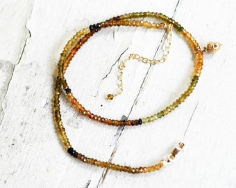 Autumn Tourmaline Necklace on Gold Filled Chain