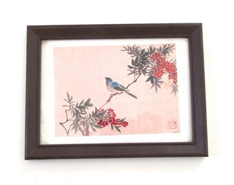 Sale 50% Off, Framed Fabric Print, Vintage Asian or Oriental Little Picture with Bird on Flowered Branch