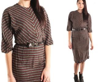 COSETTE 50s Black Grey Rust Stripe Chevron Fitted Slouchy Sleeve Batwing Mod Retro Hip Indie Tea Length Day Dress Boho Folk Beatnik Small