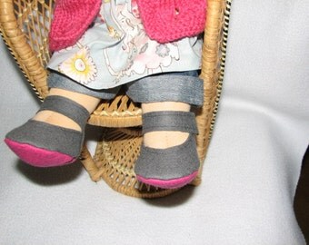 Waldorf Doll Shoes for 13 inch  to 15 inch Doll  with toes - Made to Order