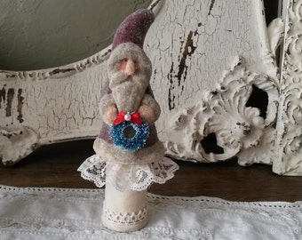 Santa table decoration Shabby Chic Christmas glittered paper mache santa on spool vintage style Christmas decor red and ivory santa figurine
