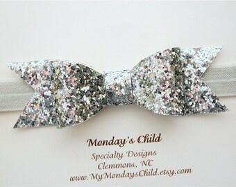 Silver Bow Headband, Glitter Bow Headband, Silver Baby Headband, Silver Glitter Bow, Baby Bow Headband, Baby Headband, Toddler Bow
