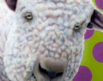 Funny Sheep Magnet - English Babydoll Sheep Magnet - Sheep Art - Proceeds Benefit Animal Charity