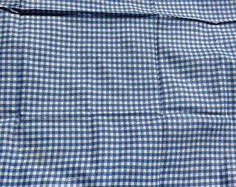 Blue and White vintage  Fabric Gingham Check cotton