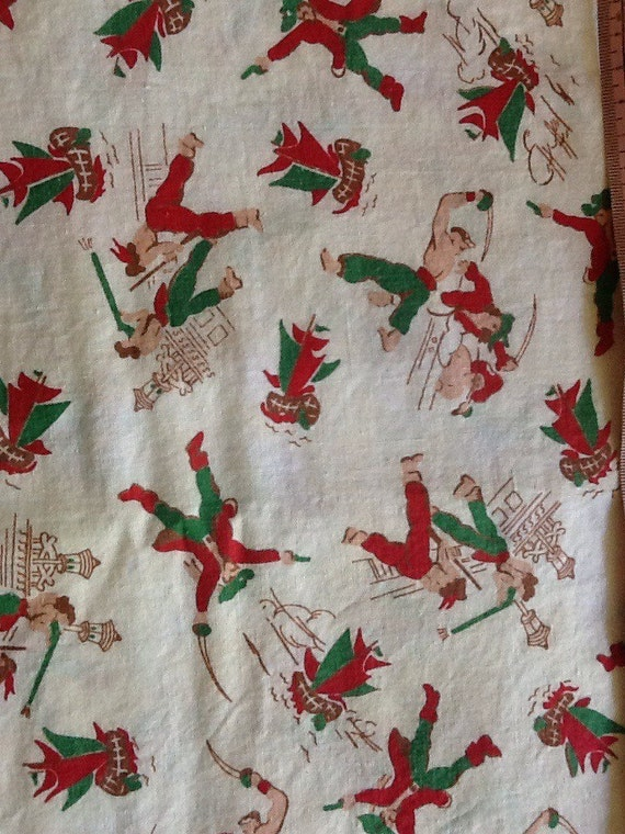 Vintage Antique Pirate Fabric Green Red Cotton by ...