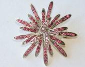 Vintage Pink Rhinestone Brooch Pink Valentine's Gift Vintage Rhinestones