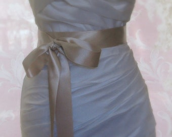 Light Champagne Sash, Premium Satin Ribbon, 1.5 Inch Wde Midori Satin Ribbon Sash, Beige Bridal Belt, Oatmeal, 4 Yards