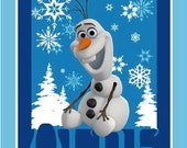 "Olaf Snowman Disney Frozen 100% Cotton Fabric 35""x44"" Panel, Children, Quilting, by Spring Creative - Sold by the Panel"