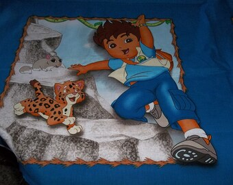 Pillow Panels Dora the Explorer Diego in the Jungle Quilt Squares Fabric One Yard Free Shipping USA