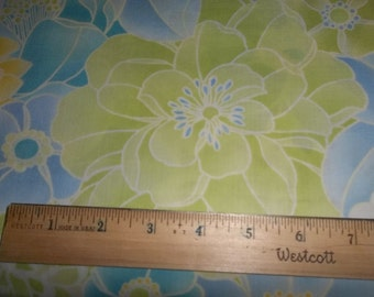 Large Flowers Blue Green Cotton Fabric - Elizabeth Anne P&B Textiles