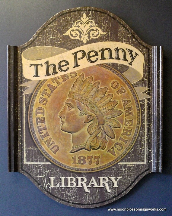 1877 Penny Coin Sign Hand Painted on Wood