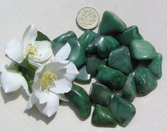 10 Green Buddstone (African Jade) Crystal Tumblestones, Green Crystals, Crystal Collection, Meditation Stone, Libra, Worry Stone, Verdite