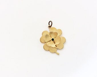Lucky charm Hobco vintage jewelry four leaves clover with green rhinestone brushed gold tone