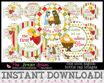 "The First Noel - INSTANT DOWNLOAD 1"" Bottle Cap Images 4x6 - 724"