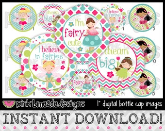 """Fairy Cute - INSTANT DOWNLOAD 1"""" Bottle Cap Images 4x6 - 610"""