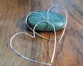 Heart Hoop Earrings - Silver