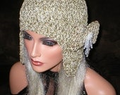 Crochet Women Linen Chenille Teardrop Bead Bow Ear Flap Hat Snowboard Hat