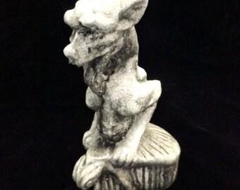Gargoyle Statue Dwarf Long Tongue Gothic Medieval Renaissance Fantasy Horned Creature Beast Home Decor Horror Small Creepy Black Notre Dame