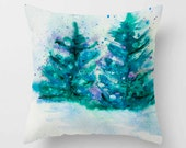 Winter Trees Watercolor PILLOW teal, aquamarine green snowy neon  Art Home Decor Throw Pillow covers